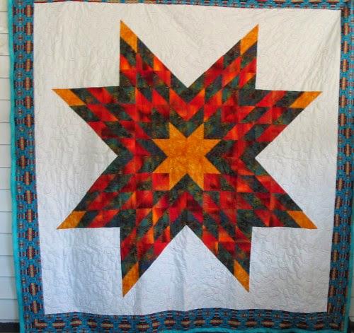 Native American Lonestar, Lakota Star quilt, queen size