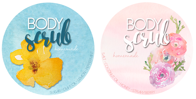 homemade body scrubs, free printable labels, jar label to print, softening body scrub, refreshing bodycare