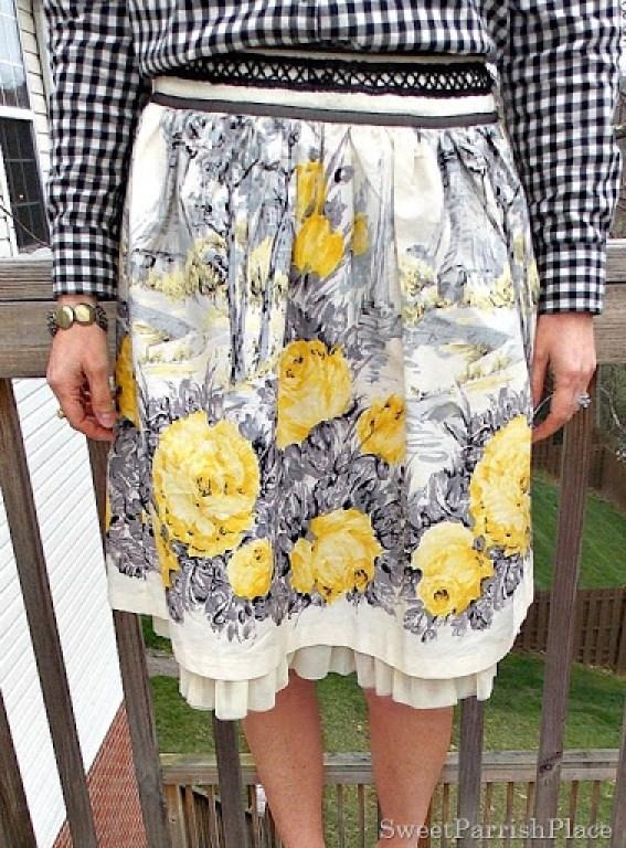 Full floral skirt, plaid shirt