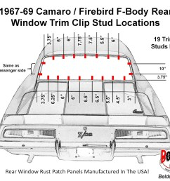 1967 69 camaro firebird f body rear window trim clip stud location diagram [ 1600 x 1200 Pixel ]