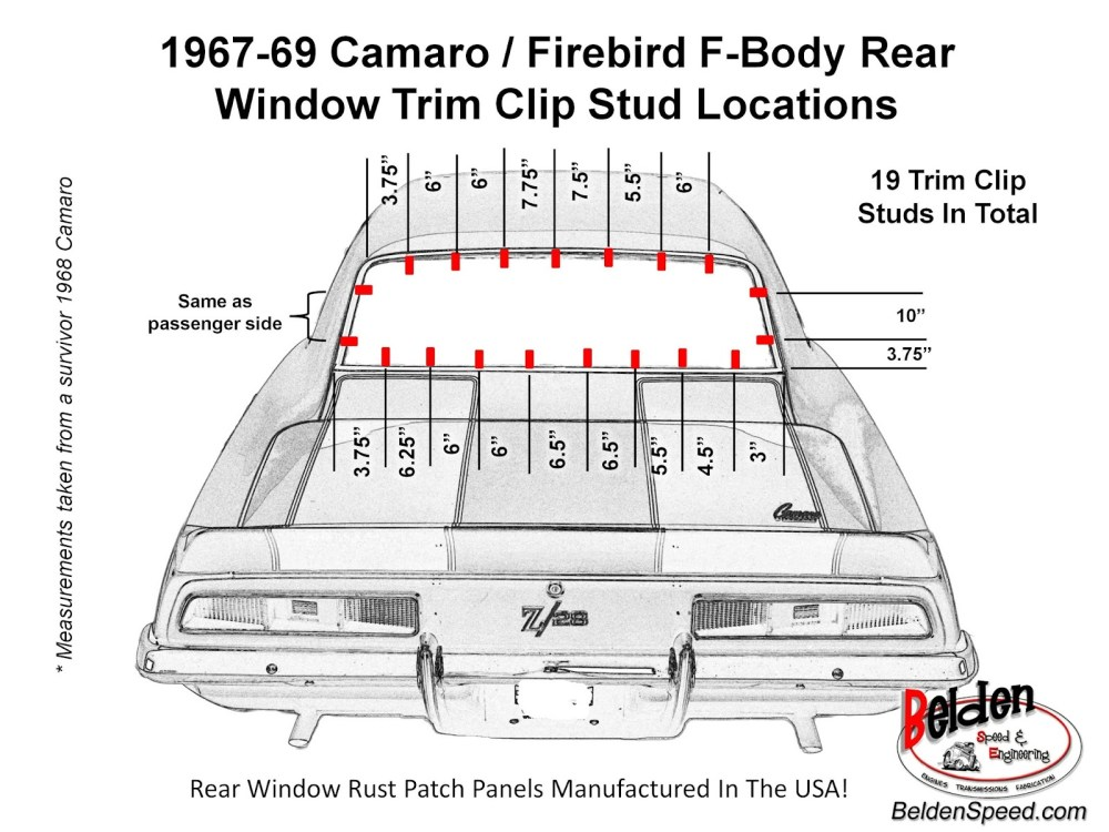 medium resolution of 1967 69 camaro firebird f body rear window trim clip stud location diagram
