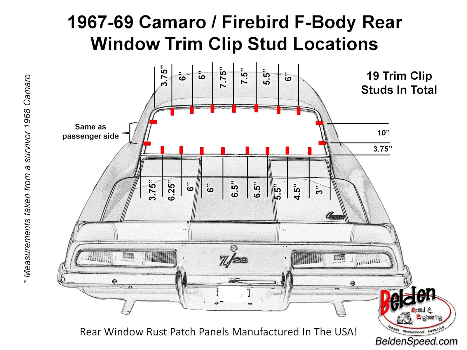 hight resolution of 1967 69 camaro firebird f body rear window trim clip stud location diagram