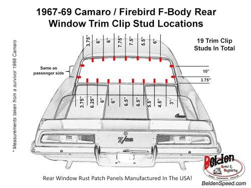 small resolution of 1967 69 camaro firebird f body rear window trim clip stud location diagram