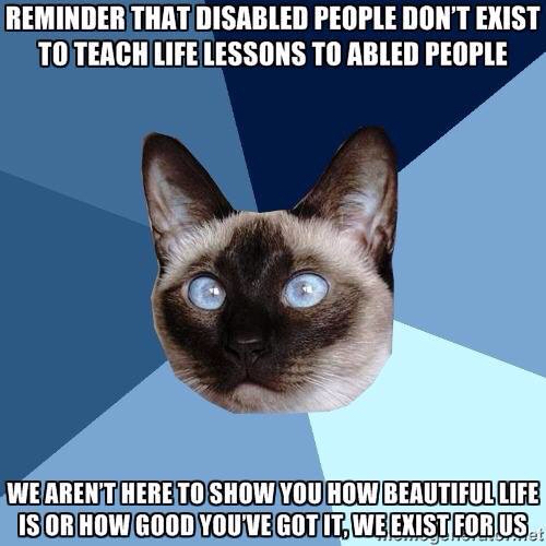 Reminder that disabled people don't exist to teach life lessons to abled people quote.