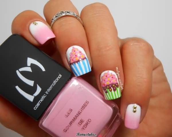 Cupcake nail art ideas newest look reny styles there are a lot of kinds of cupcake nails for you to choose they are amethyst and abysmal blooming as basal colors which are lighter than the hue of prinsesfo Image collections