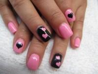 Hot Pink and Black Nail Art Design 2016