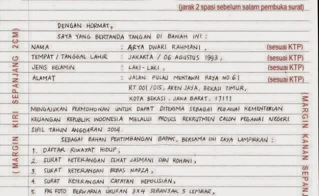 Contoh Surat Lamaran Tulis Tangan Tni Cute766