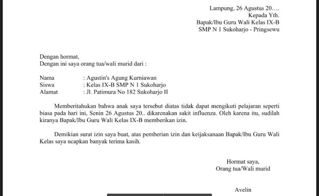 Contoh Surat Izin Sakit Siswa Smp Contoh Surat Cute766