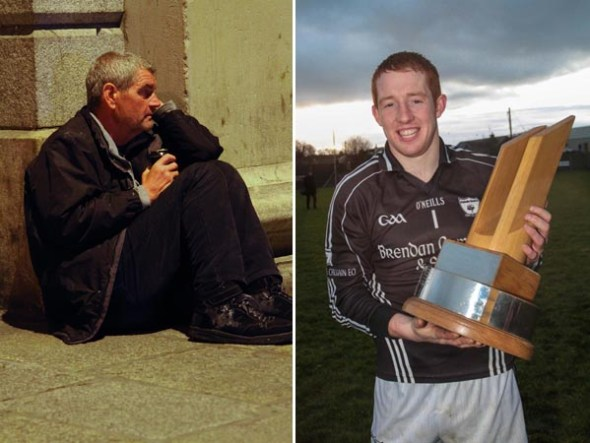 Left: Homeless man Ger, who Oliver met in Dublin while on the 32-32-32 penalty kick Challenge in aid of the Simon Communities of Ireland. Right: Clonoe O'Rahilly senior GFC captain Mickey O'Neill with the Tyrone All County League trophy after beating Coalisland's Fianna