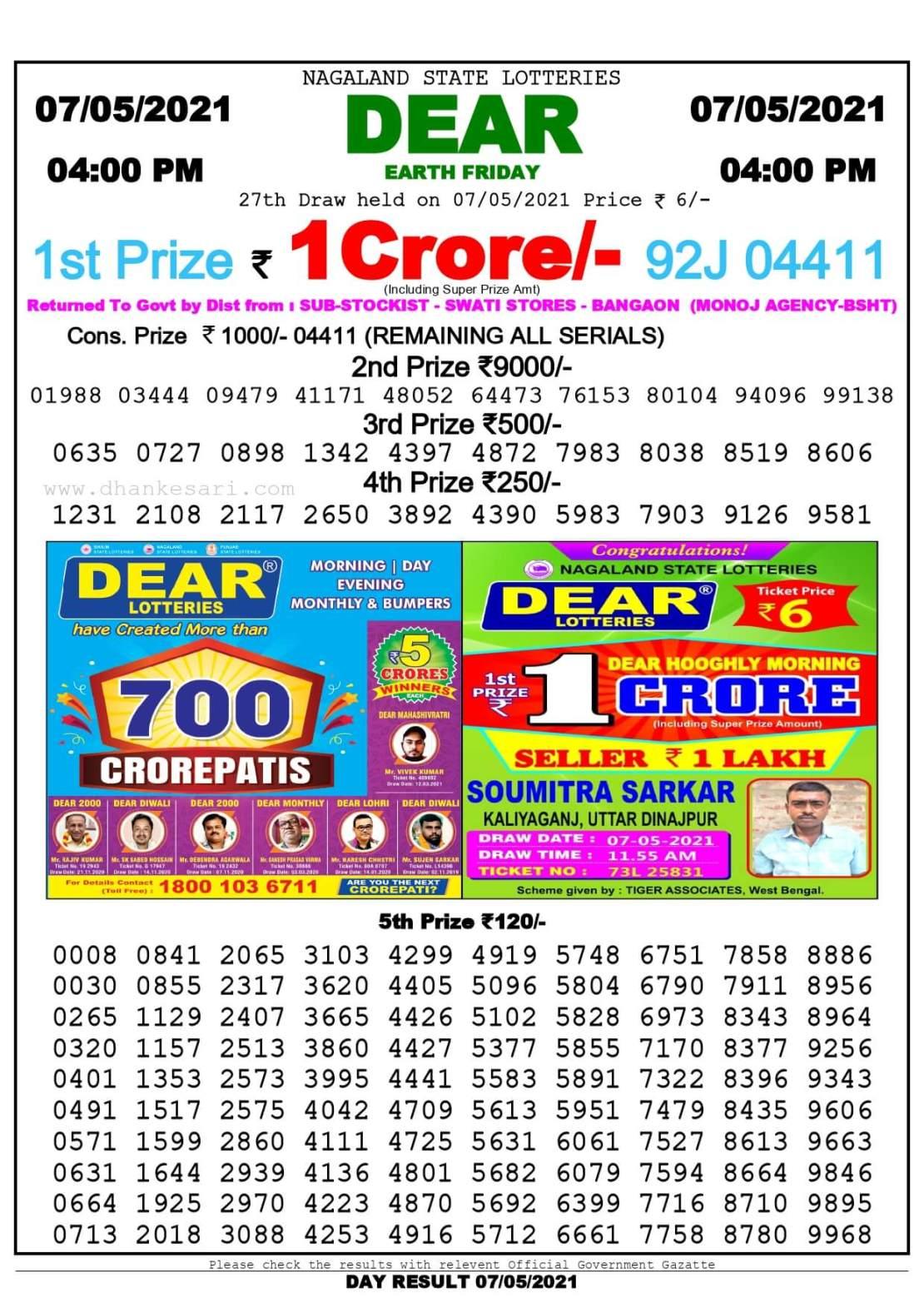 Dhankesari Lottery Sambad Result Today 4:00 PM 7.5.2021