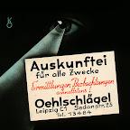 """Kinowerbung um 1930-1935, """"Auskunftei für alle Zwecke Ermittlungen-Beobachtungen schnellstens! Oehlschlägel Leipzig C1 Sedanstr. 23"""" Kurt Opitz (Künstler)"""