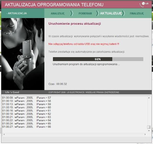 Program aktualizujący LG 2X - jak widać niegryzie