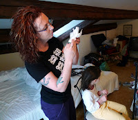 Oh crap, Trish finds lice in the girls hair.