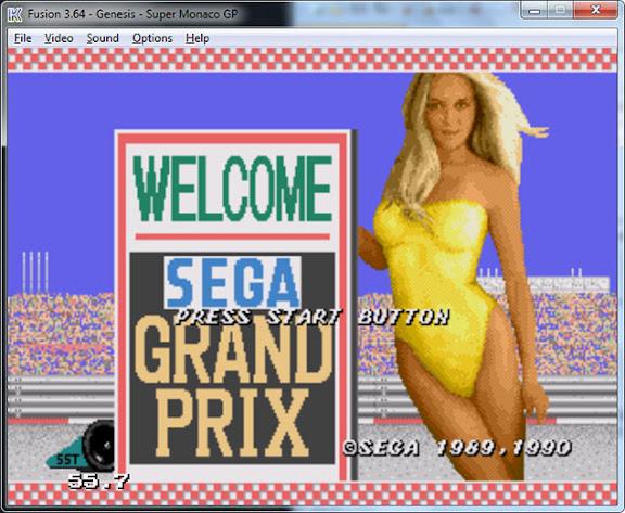 Super Monaco GP (Mega Drive) rodando no emulador Fusion
