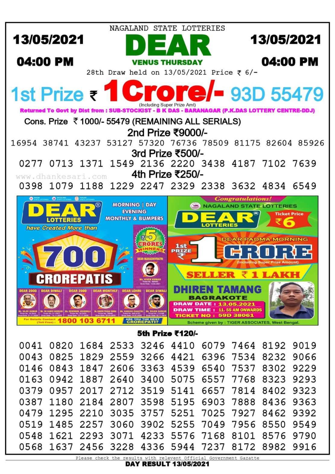Dhankesari Lottery Sambad Result Today 4:00 PM 13.5.2021