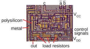Die photo of the 8008 processor, zoomed in on the circuit for one bit of the ALU