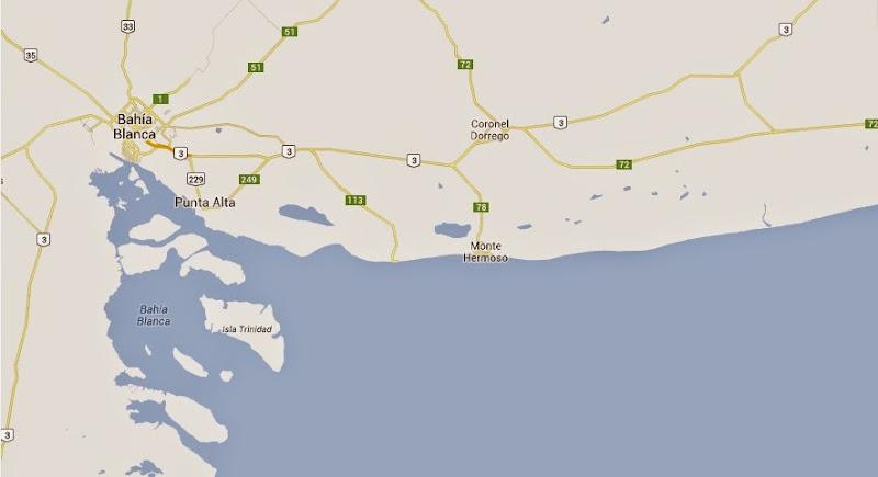 Monte Hermoso en el mapa