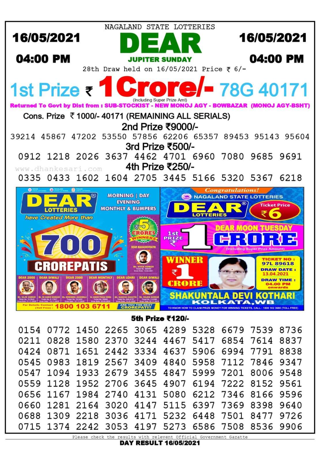 Dhankesari Lottery Sambad Result Today 4:00 PM 16.5.2021