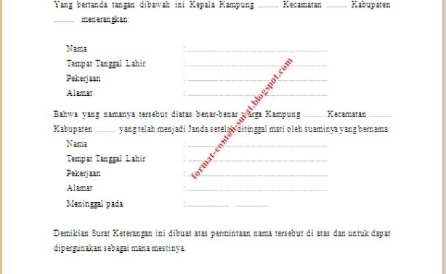 Contoh Surat Keterangan Janda Dari Kelurahan Cute766