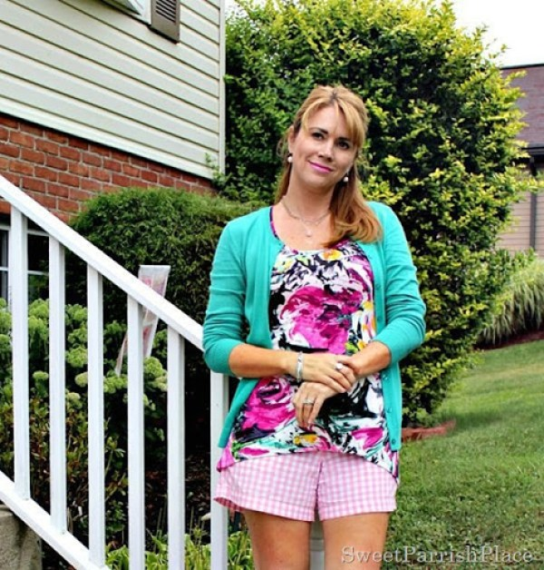 pink plaid shorts, floral tank, turquoise cardigan1