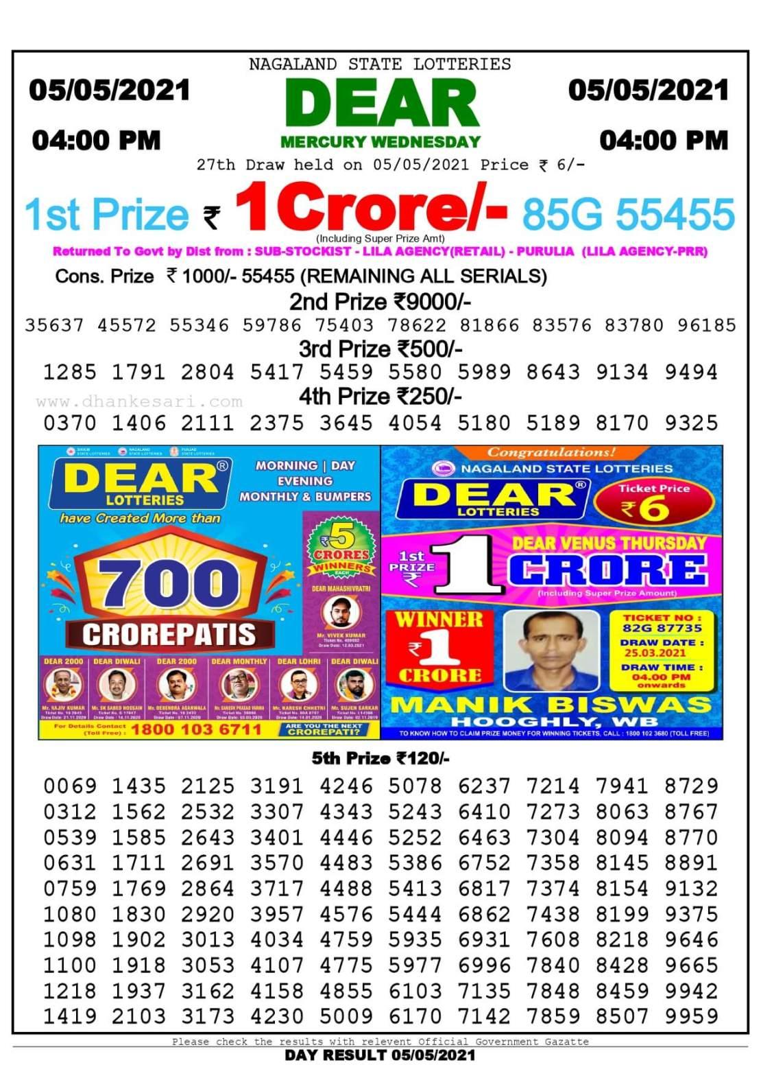 Dhankesari Lottery Sambad Result Today 4 PM 5.5.2021