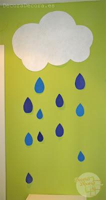 Decorar con nubes y lluvia.