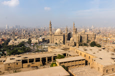 View from the Citadel down to the Mosque of Sultan Hassan and Al-Rifa'i Mosque