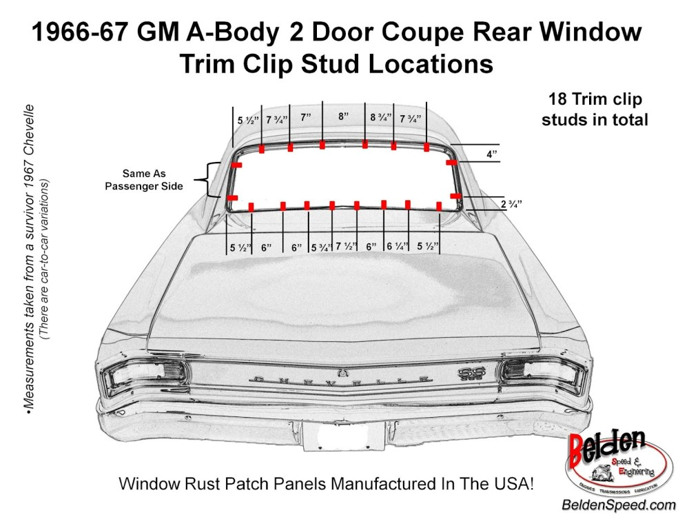 medium resolution of 1966 1967 chevelle rear window trim clip stud location diagram