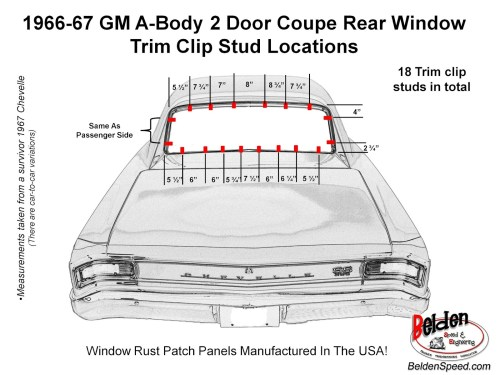 small resolution of 1966 1967 chevelle rear window trim clip stud location diagram