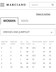 Gostan sikit also guess by marciano women   clothing size chart rh gostansikitspot