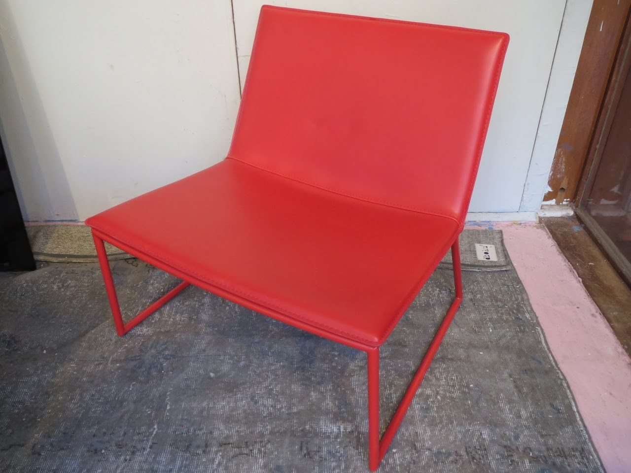 red lounge chair cow print office with arms cb2 triumph shophousingworks
