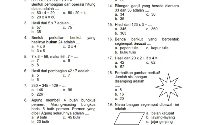 Soal Uas Matematika Kelas 2 Semester 1 Sd Dan Mi Cute766