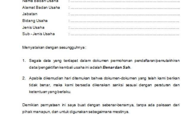 Contoh Surat Pernyataan Kebenaran Dokumen Lamaran Pekerjaan Cute766