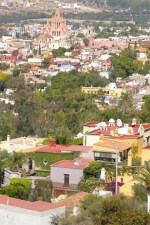 Panoramic view of San Miguel de Allende, Mexico from a small parking on road 111.