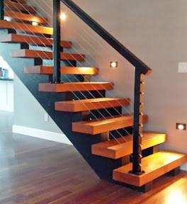 Stair Railing Ideas | Black Steel Stair Railing | Custom | Wood | Residential Indoor Residential Glass | Stainless Steel | Concrete