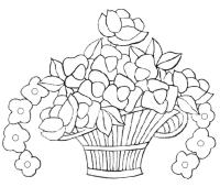 Pinto Dibujos: Colorear arreglo de flores en canasta