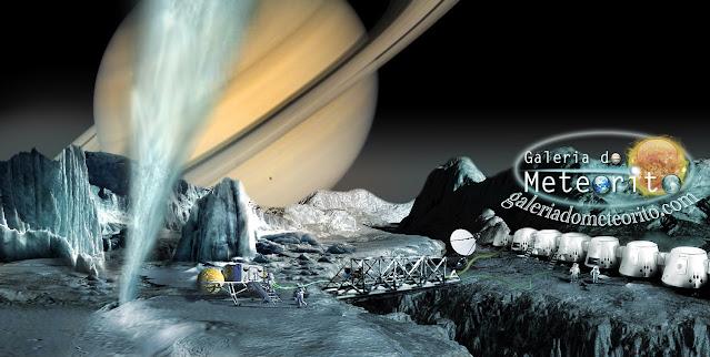Ilustração artística de uma colônia em Encélado - Wilson Paes - Galeria do Meteorito