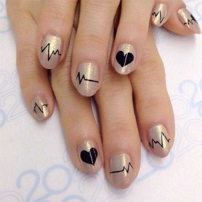 Trendy Valentine\'s Day Heartbeat Nail Art Designs - Reny styles