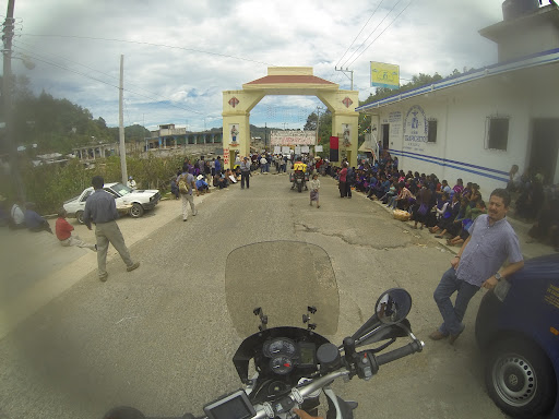 """Another protest blockade. No such luck as last time. We were stuck here for 4 hours before they let us through after a 10 pesos """"voluntary donation"""". I asked, """"Voluntary donation?"""" They said yes. I was very tempted to say it was just like """"banditos"""" but held my tongue. They were protesting against the privatization of education, energy and called it class warfare."""