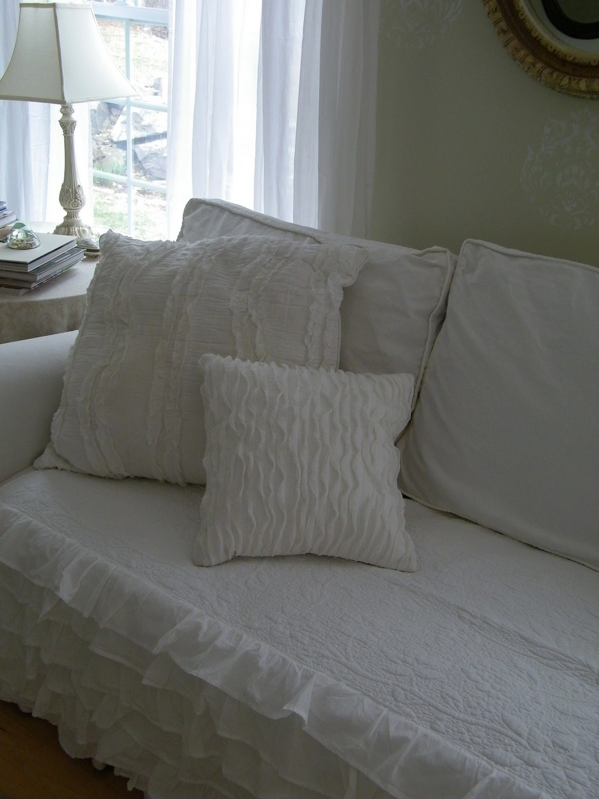ruffled sofa slipcover how to fix broken springs in maison decor romantic smocking and ruffles