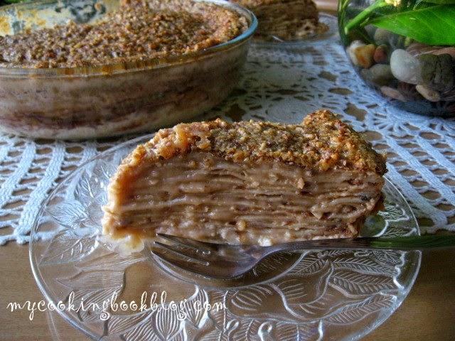 Запечена палачинкова торта с орехи