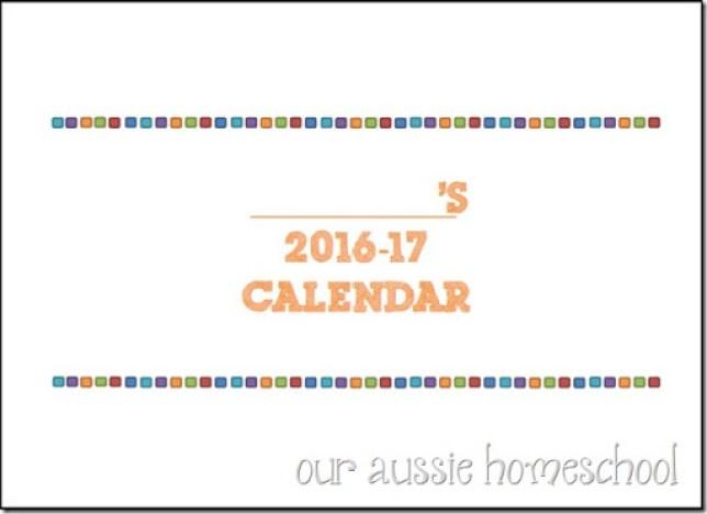 Calendar Printable - Our Aussie Homeschool