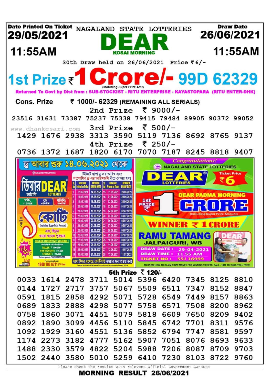 Nagaland State Lottery Result Today 11:55 AM 26.6.2021