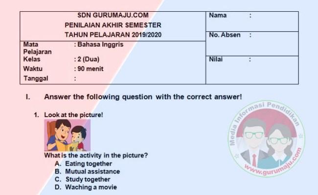 Soal Uas Pas Bahasa Inggris Kelas 2 Semester 1 K13 Revisi Guru Maju Dubai Khalifa
