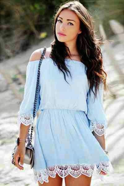 Lace Splicing Off-The-Shoulder Half Sleeve Dress