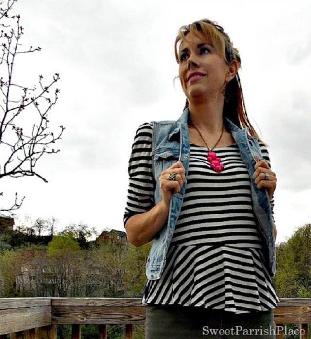 denim vest, brown skirt, striped shirt, brown wedges3