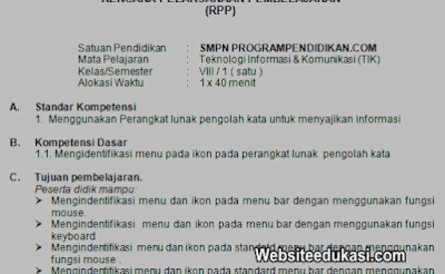 Rpp Tik Kelas 8 Smp Mts Tahun 2019 2020 Websiteedukasi Cute766