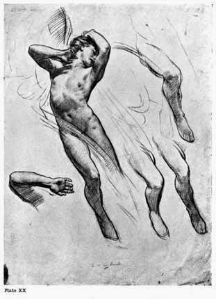 "Plate XX. STUDY FOR THE FIGURE OF LOVE IN THE PICTURE ""LOVE LEAVING PSYCHE"" ILLUSTRATING A METHOD OF DRAWING The lines of shading following a convenient parallel direction unless prominent forms demand otherwise."