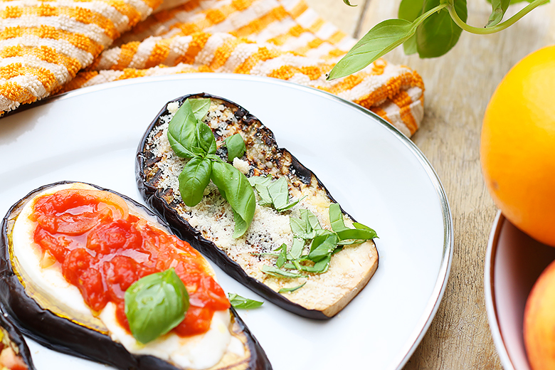 Three ideas of eggplant bruschettas as a starter.