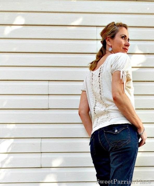 Cream lace back shirt, jeans, cream sandals1